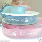 per 3 metres satin Christening ribbon blue /Pink - silver writing 20mm wide