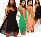 New Summer Women Clothing Sexy Spaghetti Strap Dresses Halter Backless Chiffon