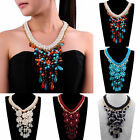 Fashion Jewelry Gold Chain Multicolor Resin Crystal Flower Drop Pendant Necklace