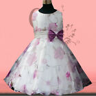 Purples Floral Christening Wedding Party Flowers Girls Dresses SIZE 3 4 5 6 7 8Y