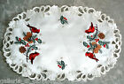 CHARMING CARDINALS Lace Doily Placemat Runner Winter Christmas Pinecone Cardinal