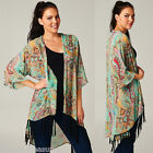 Bohemian Hippie Kimono Chiffon Duster Jacket Top Fringe Boho Vtg Festival  S-M-L