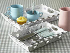 SHABBY WHITE SCALLOP EDGE HEART CHIC STORAGE TRAY COUNTRY KITCHEN SMALL OR LARGE