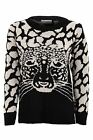 Ladies Leopard Tiger Owl Print Black Nude Sweater Women's Knitted Jumper 8-14