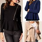 2014 New Fashion Women Ladies Zipper OL Long Sleeve Slim Top Pleated Coat Jacket