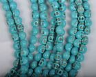 50/100Pcs 6X8MM blue Turquoise skull Day of the Dead Spacer Beads