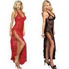 Womens Long Dress & G String Leg Avenue New Rose Lace Sexy Lingerie Erotic Gown
