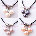 "3 PCS NATURAL FRESHWATER PEARL PENDANTD AND LEATHER NECKLACE 17"" ADJUSTABLE"