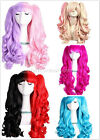 HEAT RESISTANT WOMEN LONG CURLY WAVE FANCY DRESS COSPLAY COSTUME PARTY WIG+CAP