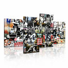 BANKSY Collage 1 Canvas 4A-RH Framed Printed Wall Art ~ 4 Panels