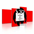 BANKSY Monkey 1 Canvas 4A-RH Framed Printed Wall Art ~ 4 Panels