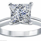 1.5 ct Princess Cut Solitaire Engagement Wedding Ring REAL Solid 14k White Gold
