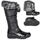 NEW WOMENS FLAT LACE UP SYNTHETIC FUR KNEE HIGH WIDE CALF SNOW BOOTS SIZE 3 - 8