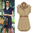 Vintage Office Lady Causal Loose Solid Color Evening Prom Cocktail Party Dress