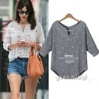 Summer 3/4 Sleeve V Neck Women Star Print Casual Loose Shirt Top Blouse Pullover