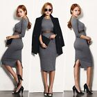 Autumn Winter Womens Sexy Slit Knit Sweater Pencil Evening Party Club Midi Dress