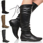 WOMENS LADIES CALF LACE UP SLOUCH RUCHED ZIP ROUND TOE RIDING KNEE BOOTS SIZE