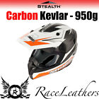 STEALTH ORANGE HD210 CARBON + ARAMID FIBRE GP REPLICA MX LIGHT MOTOCROSS HELMET