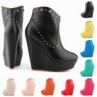 WOMENS SHOES PU AUTUMN ANKLE BOOTS RIVETS HIGH HEELS WEDGE UK 2 3 4 5 6 7 8 9