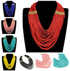 Fashion Handmade Multicolor Resin Seed Beads Chunky Chain Statement Bib Necklace