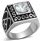 Polished Large New Stainless Steel Men's Round Clear CZ Ring - Sizes 8-13
