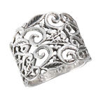New Wide Sterling Silver Filigree Ring - Sizes 6-10