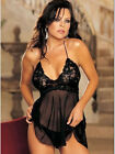 Size 8 - 24 Plus Size Black Sheer Lace Top Lingerie Babydoll Night Dress