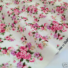 PER FQ / 1/2 metre Ivory/pink posy floral dressmaking/craft fabric 100 % cotton