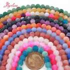 "8MM FROST ROUND SHAPE CRACKED AGATE LOOSE GEMSTONE BEADS STRAND 15"" PICK COLOR"