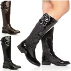 WOMENS LADIES KNEE QUILTED RIDING LOW HEEL FLAT ZIP BUCKLE CALF BOOTS SIZE