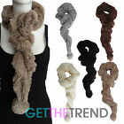 Womens Fur Pom Pom Tuck Scarf Ladies Furry Winter Ruched Snood Stole Scarves