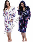 Ladies Fleece Hooded Dressing Gown Robe FLORAL Navy Blue Cream 8 10 12 14 16 18