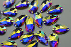 Acrylic beads Tear Drop AB Faceted Sew On Flat Back Jewels