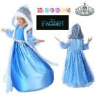 Frozen Elsa Anna Costume Disney Princess Girls Outfit Cosplay Santa Dress+Crown