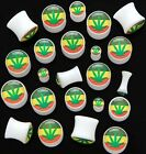 New Acrylic Double Flare Novelty Pot Weed Cannabis Leaf Ear Plug Tunnel White