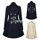Fashion Women Double-breasted Slim Coat Jacket Cotton Blend Trench Outwear S-XXL