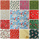CHRISTMAS FABRICS per 1/2 metre/ fat quarter stars, santa stockings 100 % cotton