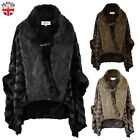 LADIES WOMENS FUR CAPE COAT JACKET WINTER PONCHO SHAWL SHRUG BATWING KIMONO SIZE