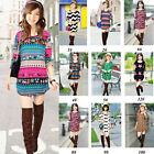 10 Styles Women Lady Xmas Knitted Jumper Crew Neck Long Sleeve T-Shirt Tee Tops