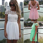 2014 Women Celeb Lace Chiffon Backless Pleated Party Evening Summer Beach Dress