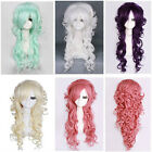 Fashion Sexy Ladies Long Harajuku Cosplay Party Curly Wigs+Free Wig Cap