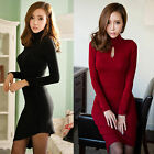 Elegant Womens High Neck Bodycon Slim Fall Winter Party Cocktail Ball Gown Dress