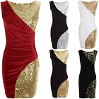 Ladies Silver Sequin Contrast Wrap Bodycon Womens Short Party Evening Dress 6-16
