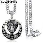 NEW Lion Celtic Knot Silver 316L Stainless Steel Pendant Necklace Men Chain GIFT