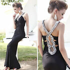 GK Sexy Black Bodycon Wedding Formal Party Evening Prom Cocktail Club Long Dress