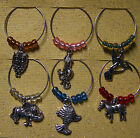 Beaded Wine Glass Makers Charms w  Gift Box Cat Bird Fairy Tree Heart Hope Golf