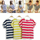 Women Casual Batwing Sleeve Blouse Chiffon Striped Loose Tops T-shirt