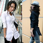 Fashion Women Long Sleeve Button Down Casual Long Top Shirt White Office Blouse