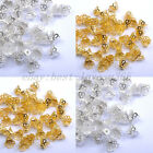 100pcs Gold & SILVER PLATED Metal Flower End Beads Caps Charms 5X6MM, 10X7MM