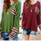 WOMEN Loose Round Neck Knit Splice Cotton Stretch Long Sleeve T Shirt Blouse Top
